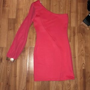 One sleeve pink dress